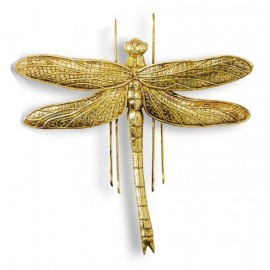 Large Dragonfly Wall Art in an Antique Gold Effect