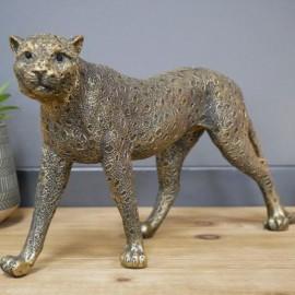 Antique Gold Leopard Interior Sculpture