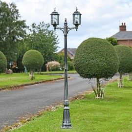 Antique Silver Double Head Lamp Post in Situ in the Garden