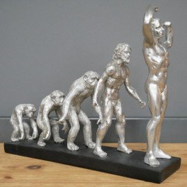 Antique Silver Human Evolution Interior Sculpture