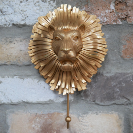 Artistic Gold Lion Hook in Situ on a Brick Wall