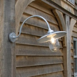 Silver Arched Swan Neck Barn Light