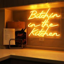 """Bitchin in the Kitchen"" Neon Wall Light in Orange"
