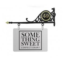 """""""Merton Hall"""" Hanging Shop Sign with Brass Door Number"""