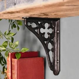 Black Cast Iron Coalbrookdale Shelf Bracket 18 x 13cm