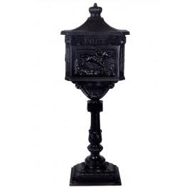 Black Cast Iron Equestrian Design Free Standing Post Box