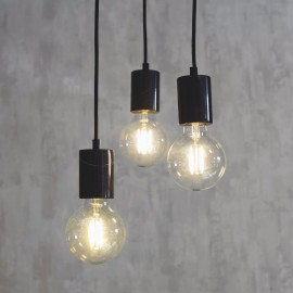 Black Contemporary Iron Hanging Cluster Light in Situ