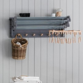 Charcoal Black Extendable Wall Mounted Clothes Drying Rack