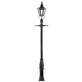 "Black ""Concordia"" Lamp Post & Hexagonal Lantern - 3.7m"