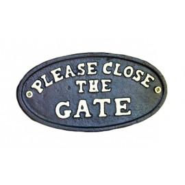 Black Iron 'Please Close The Gate' Sign