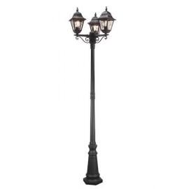 """""""Sheringham"""" Black Ornate Triple Headed Lamp Post 2.3m"""