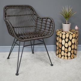 Black Rattan Chair in Situ in the home