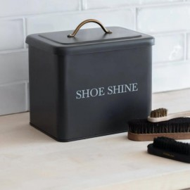 Black Shoe Shine Storage Box
