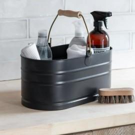 Black Utility Bucket with Wooden Handle