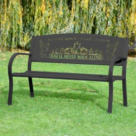 """""""You'll Never Walk Alone"""" Liver Bird Bench in Situ in the Garden"""