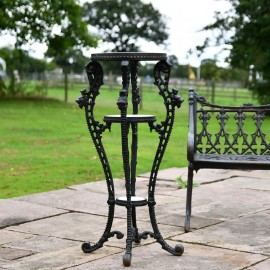 'Millicent' Victorian Aged Black Cast Iron Side Table Stand - 36cm