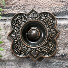 Burnished Copper Period Bell push on brick wall