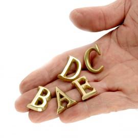 1 inch (25mm) Rear Pin Fix Brass Letters