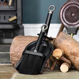 Brass and Black Iron Shovel and Brush