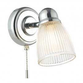 Bright Chrome Bathroom Wall Light With Ribbed Glass Shade