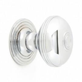 Bright Chrome Ribbed Centre Door Knob Set