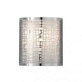 Bright Chrome Wall Light With Patterned Shade