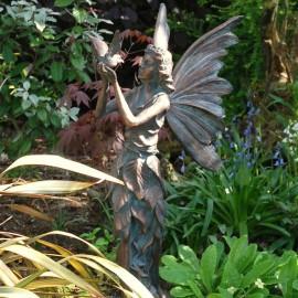 Bronze Effect Standing Fairy and Bird Sculpture