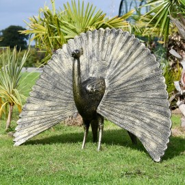 Bronze Finish Peacock Sculpture with Open Tail in Situ Outdoors