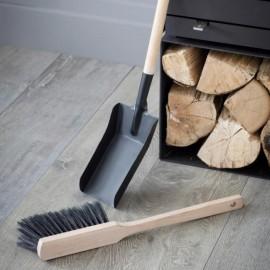 Black Steel & Wood Dustpan & Brush Set