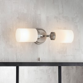 Brushed Nickel Bathroom Double Wall Light in Situ in the Home