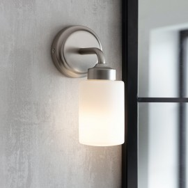 Contemporary Bathroom Wall Light in a Brushed Nickel