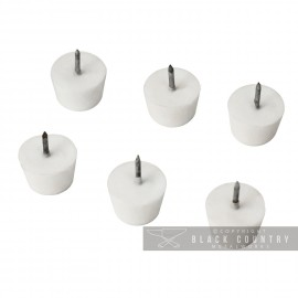 White Round Nylon Nail in Toilet Seat Buffers - Pack of 6