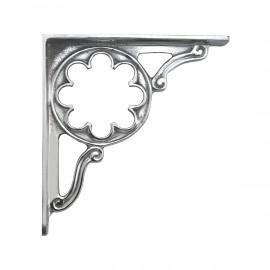 Ornate shelf bracket finished in bright chrome