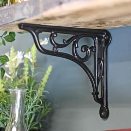 Scroll design shelf bracket finished in black