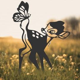 Black Cartoon Deer Silhouette in Situ in a Field