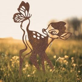 Rustic Cartoon Deer Silhouette in Situ in a Field