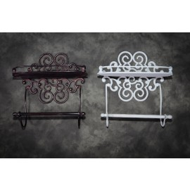 """""""Lavellan"""" Scrolled Cast Iron Shelf with Towel Holder"""