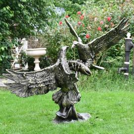 Eagles Fighting Sculpture Created in a Cast Aluminium