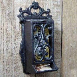 Ornate Matchbox holder Made From Cast Iron