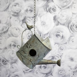 """Chain Hanging Rustic Bird House in a  """"Watering Can"""" Design"""