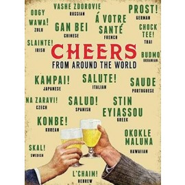 """Retro """"Cheers From Around the World"""" Metal Sign"""