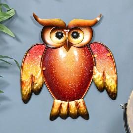 Orange & Yellow Owl Wall Art Created From Glass & Metal