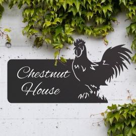 Cockerel Iron House Name Sign with White Vinyl