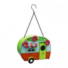 Caravan Chain Hanging Bird House in a Multicoloured Finish