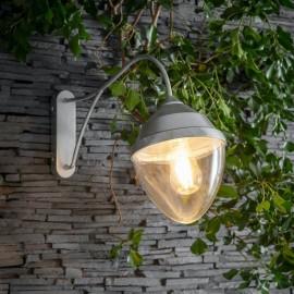 Contemporary Galvanised Steel Swan Neck Wall Light in Situ