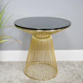 Glass and Gold Finished Metal Contemporary Table in Situ