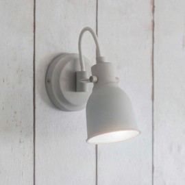 Contemporary Steel Chalk White Swan Neck Wall Light in Situ on a Wooden Wall