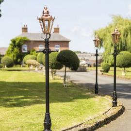 Copper Concordia Lamp Post & Hexagonal Lantern - 2.3m