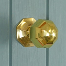 Pointed Polished Brass Octagonal Centre Door Knob