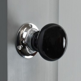 Black Ceramic Door Knob on a Grey Door
